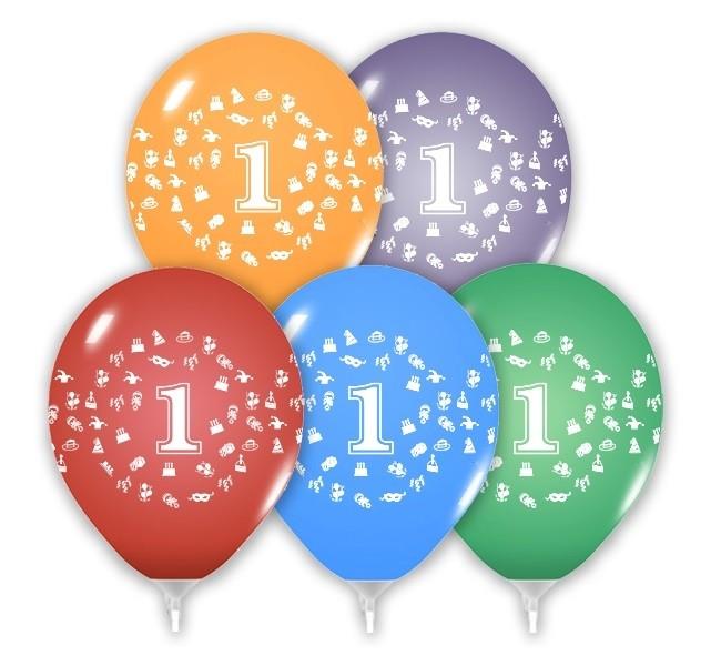 Balóny 30 cm s číslom 1 - 5 ks