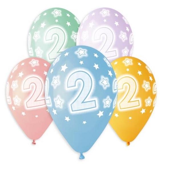 Balóny 30 cm s číslom 2 - 5 ks