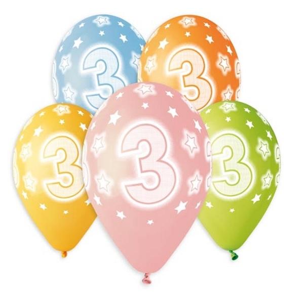 Balóny 30 cm s číslom 3 - 5 ks