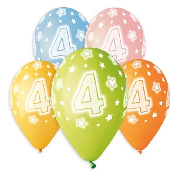 Balóny 30 cm s číslom 4 - 5 ks