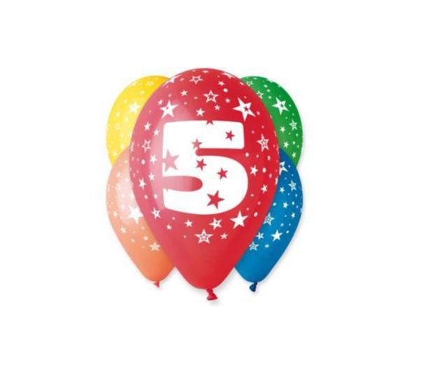 Balóny 30 cm s číslom 5 - 5 ks