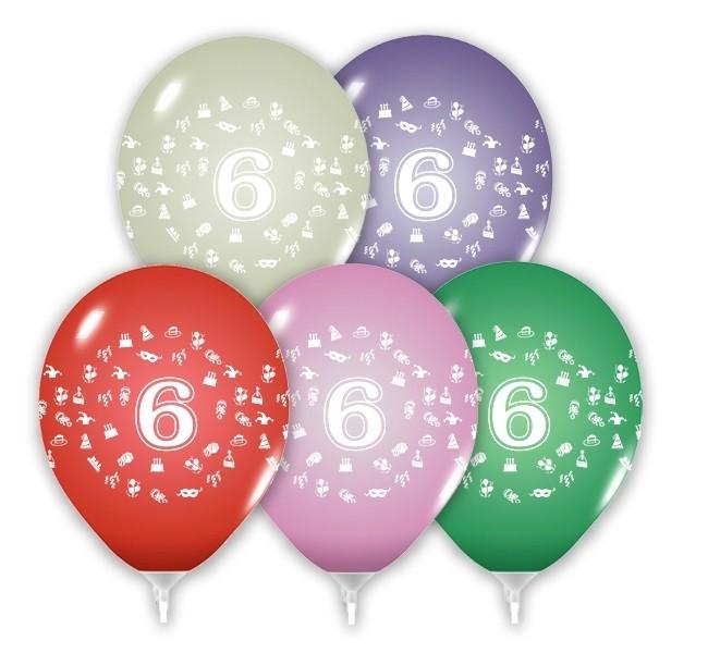 Balóny 30 cm s číslom 6 - 5 ks