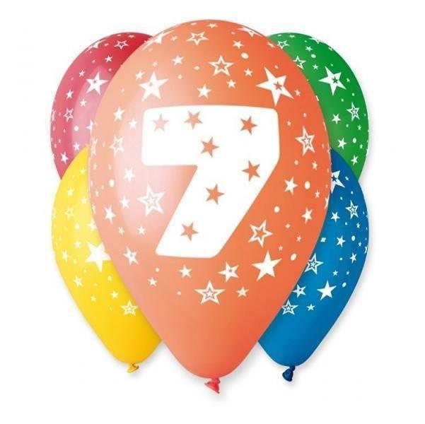 Balóny 30 cm s číslom 7 - 5 ks