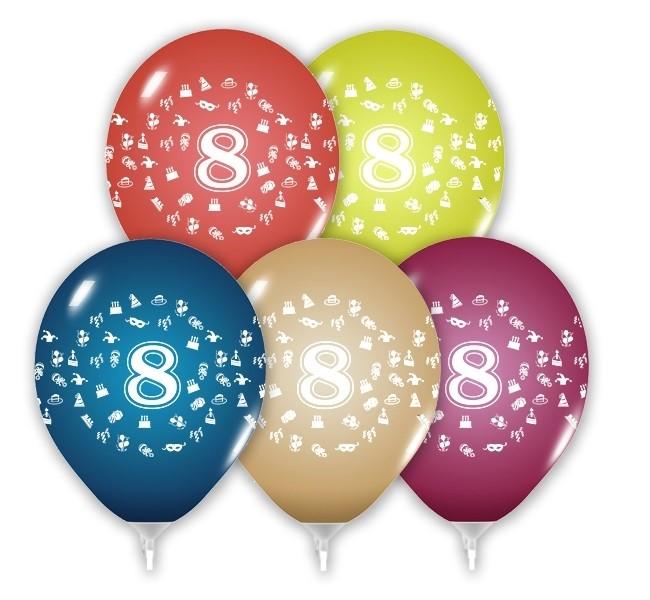 Balóny 30 cm s číslom 8 - 5 ks