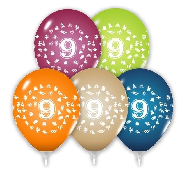 Balóny 30 cm s číslom 9 - 5 ks