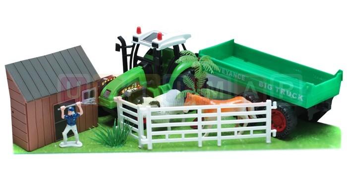 Detská farma s 2 zvieratkami a traktorom
