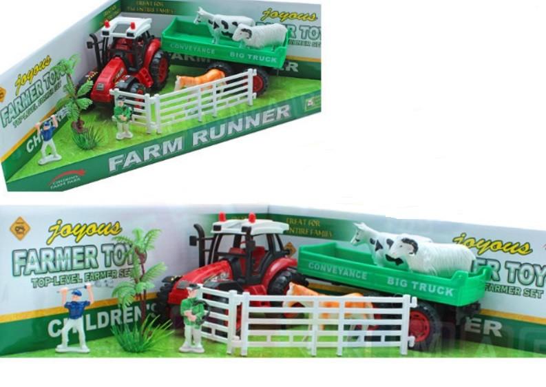 Detská farma s 3 zvieratkami a traktorom