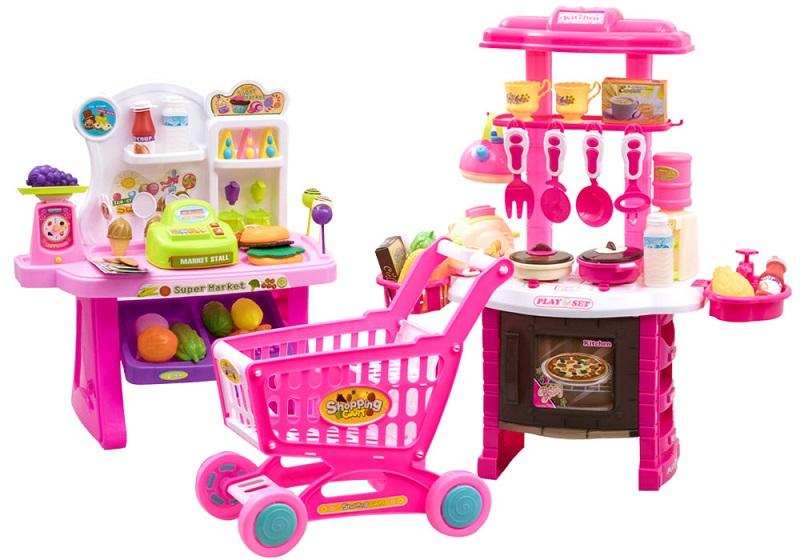 Detská kuchynka + obchod s nákupným košíkom