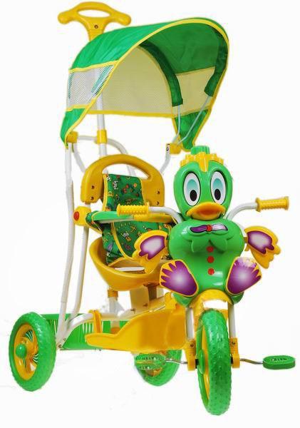 Detská trojkolka kačička zelená