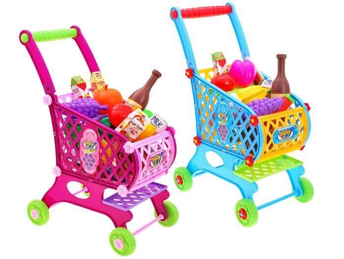 Detský nákupný vozík s potravinami