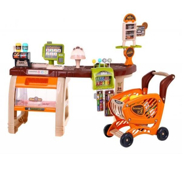 Detský supermarket + nákupný vozík s príslušenstvom