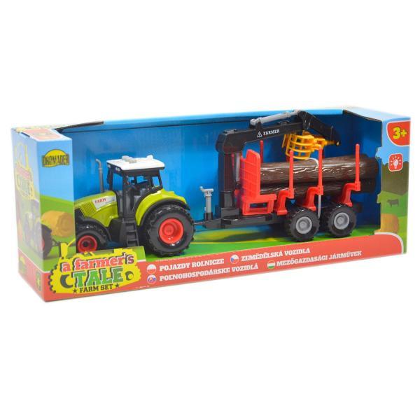 Detský traktor s kmeňmi stromov na batérie