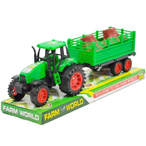 Detský traktor s vlečkou a drevom