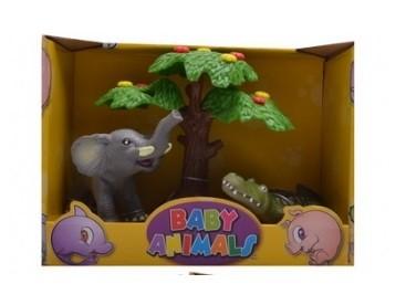 Divoké zvieratká pod stromom slon a krokodíl