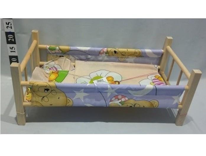 Drevená postieľka pre bábiky s textíliou