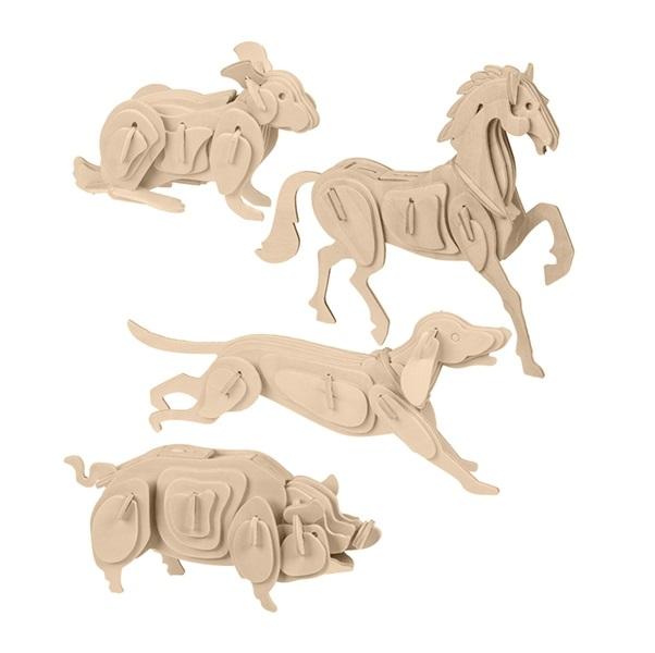 Drevené 3D puzzle - domáce zvieratá
