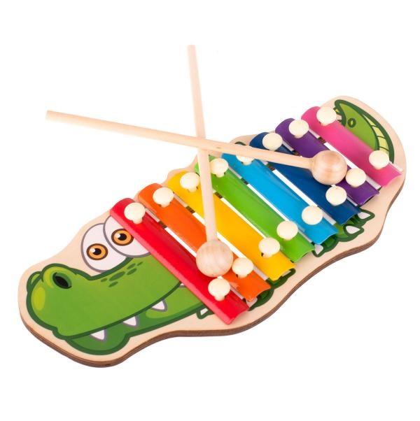 Drevené cimbalky pre deti krokodíl