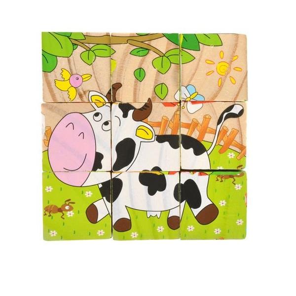 Drevené obrázkové kocky zvieratká