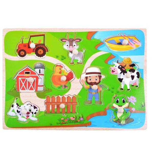 Drevené puzzle Farma