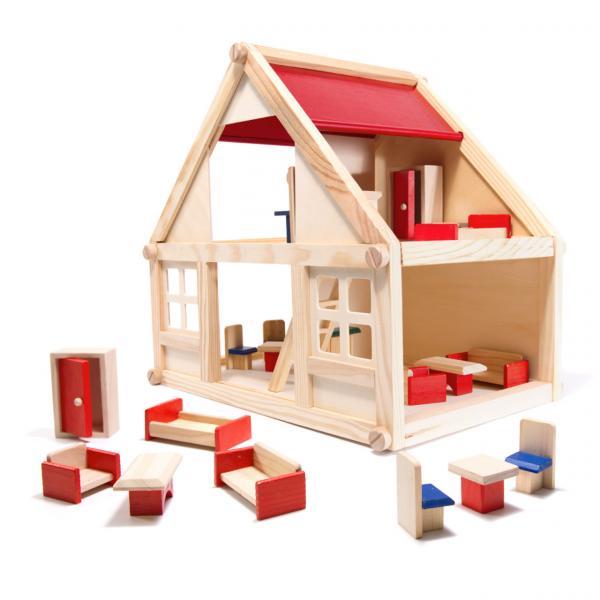 Drevený domček pre bábiky s doplnkami