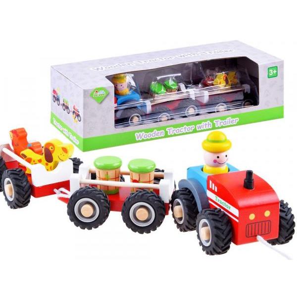 Drevený traktor s vlečkami