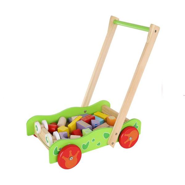 Drevený vozík s kockami