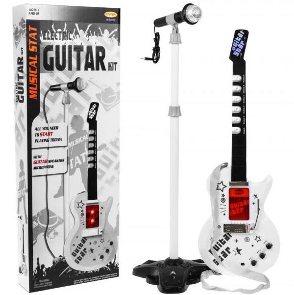 Elektrická rocková gitara s mikrofónom
