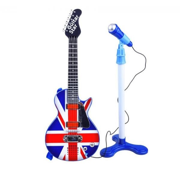 Elektrická rocková gitara s mikrofónom: A