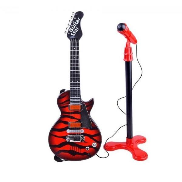 Elektrická rocková gitara s mikrofónom: červená