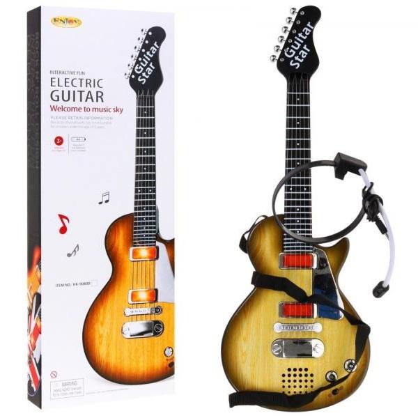Elektrická rocková gitara vo farbe dreva