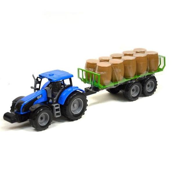 Farmársky traktor s vlečkou