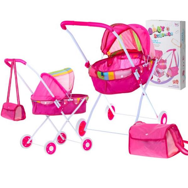 Hlboký ružový kočík pre bábiky s taškou