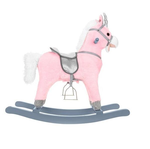 Hojdací koník 74 cm - ružovo strieborný