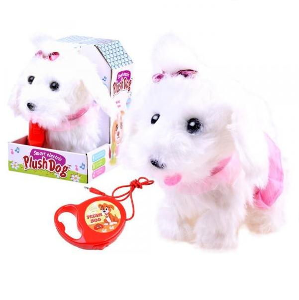 Interaktívny plyšový pes s vodítkom dlhosrstý biely