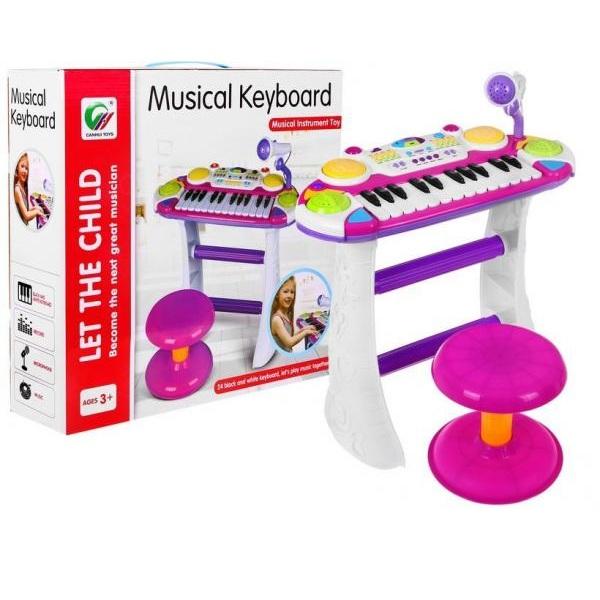 Klavír pre deti s mikrofónom a taburetkou ružový