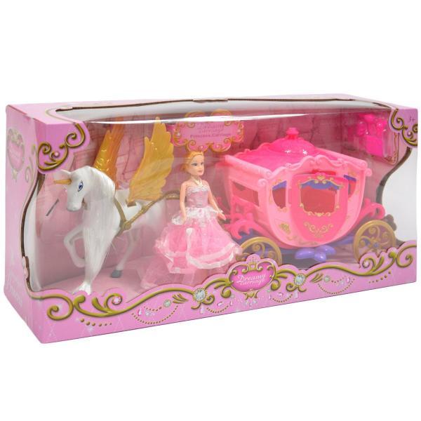 Ružový koč pre bábiky s koníkom so svetlom a zvukom