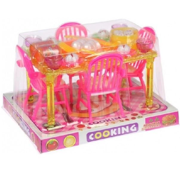 Kuchynský stôl pre bábiky s príslušenstvom