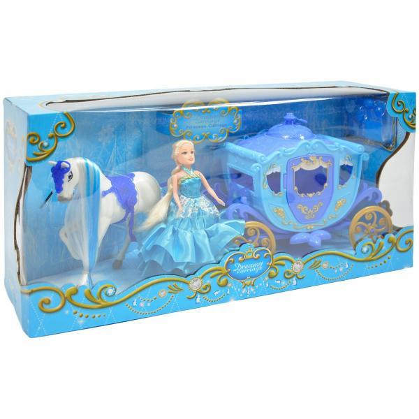 Modrý koč pre bábiky s koníkom so svetlom a zvukom