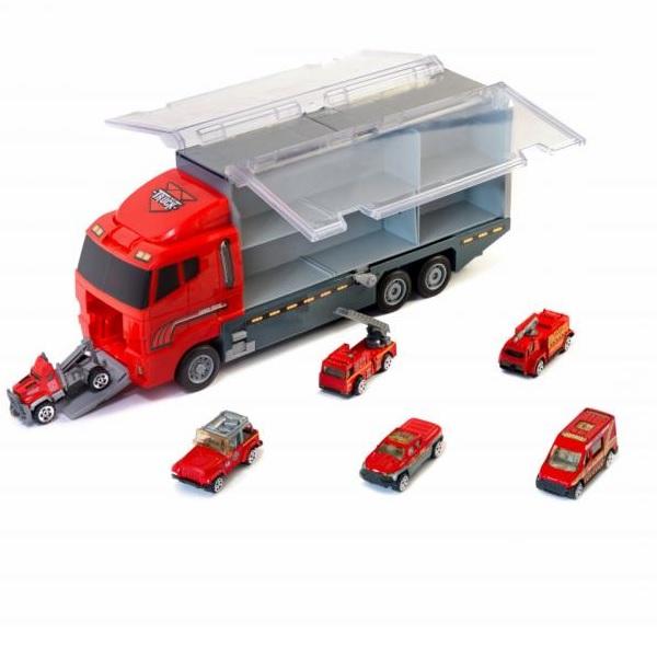 Nákladné auto s hasičskými autami