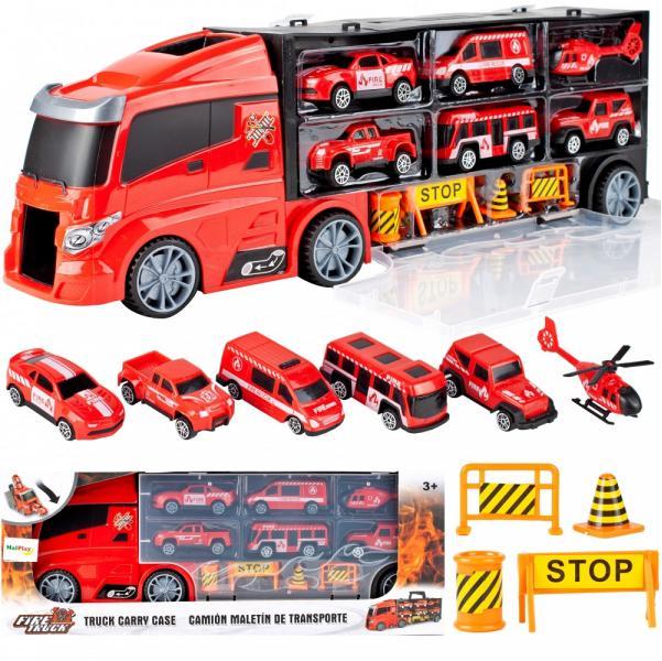 Nákladné hasičské auto s vozidlami
