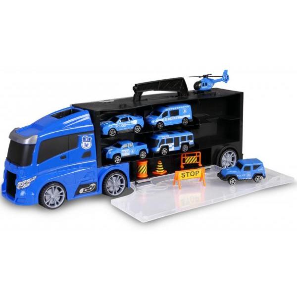 Nákladné policajné auto s vozidlami