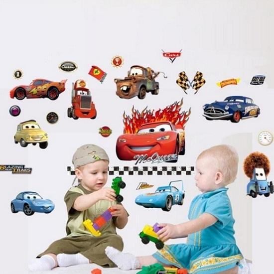 Nálepky na stenu - autá Cars - akcia - pokrčený okraj