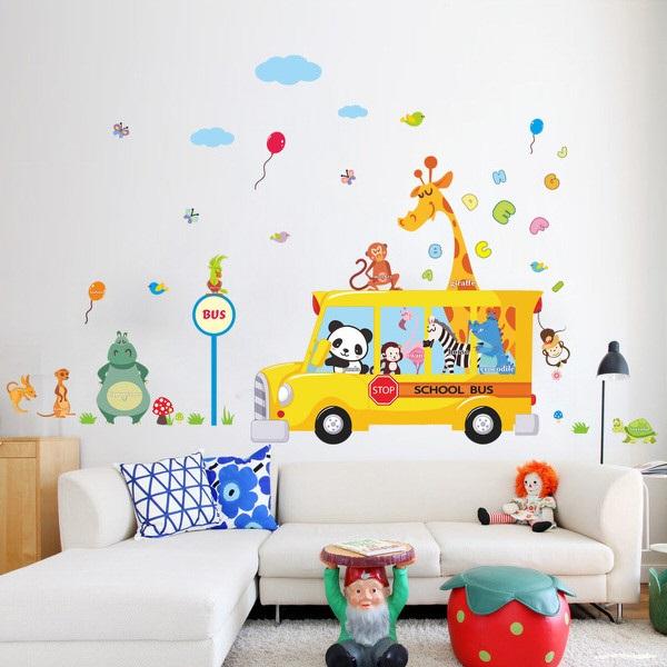 Nálepky na stenu Autobus so zvieratkami