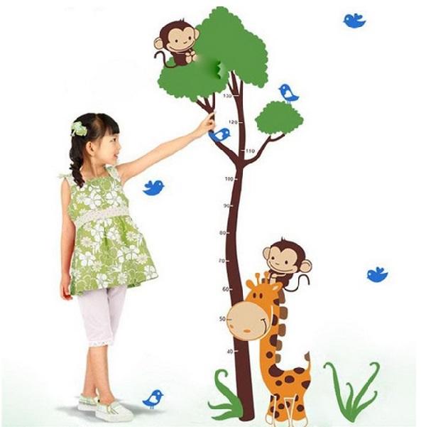 Nálepky na stenu - rastový meter v tvare stromu