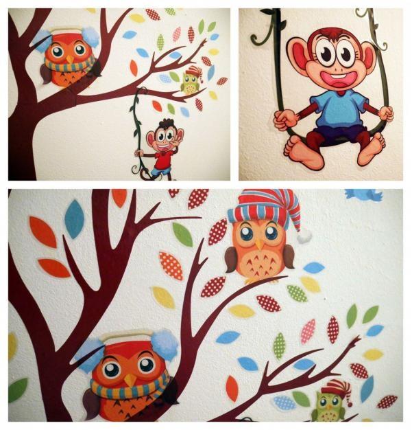 Nálepky na stenu - strom so zvieratkami