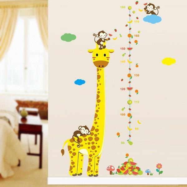 Nálepky na stenu - meter žirafa