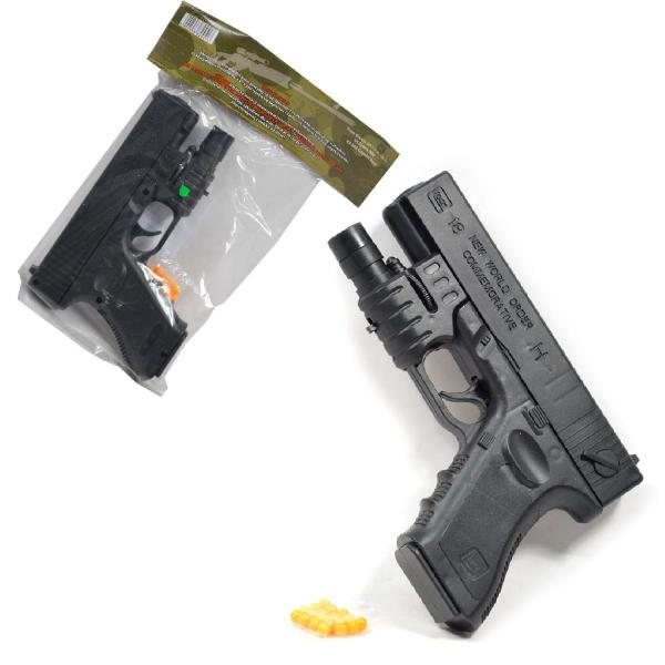 Pištoľ na guľky s laserovým zameriavačom 18 cm