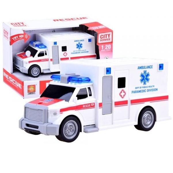Pohotovostná sanitka rýchlej pomoci - akcia: pokrčená krabica
