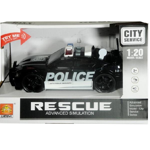 Policajné auto so svetlom a zvukom čierne