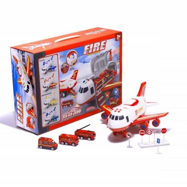 Požiarnicke nákladné lietadlo s autami